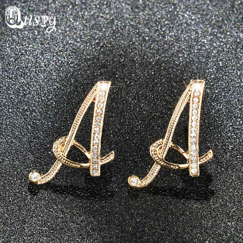 Exquisite 26 Initials Letters Gold Color Crystal Stud Earrings Fashion  Party Style Jewelry Christmas Gifts For