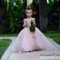 Прекрасный румянец розовый аппликации бальные платья с цветами красивая свадьба день рождения пром вечернее платье с поездом для маленьких девочек