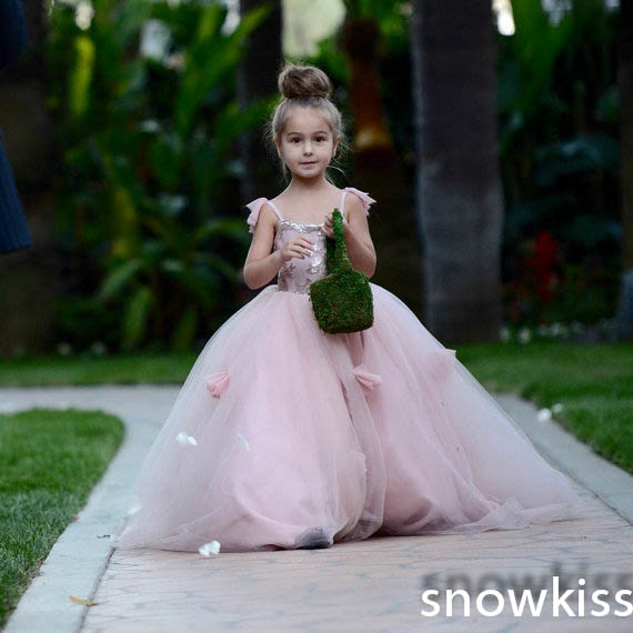 Lovely blush pink appliques ball gowns with flowers beautiful wedding birthday prom evening dress with train for little girls lovely pink puffy tulle ball gowns with flowers beautiful wedding birthday prom evening dress with train for little girls
