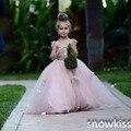 Precioso rubor rosa appliques los vestidos de bola con flores hermosa cumpleaños de la boda baile vestido de noche con tren para niñas