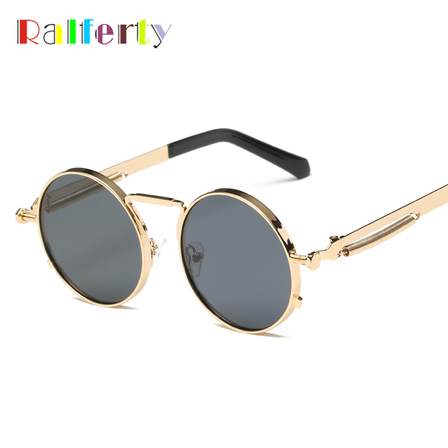 2f1e853912 Ralferty Vintage Round Sunglasses Women Men Steampunk Goggles Retro Gold  Metal Sun Glasses Hip Pop Wire