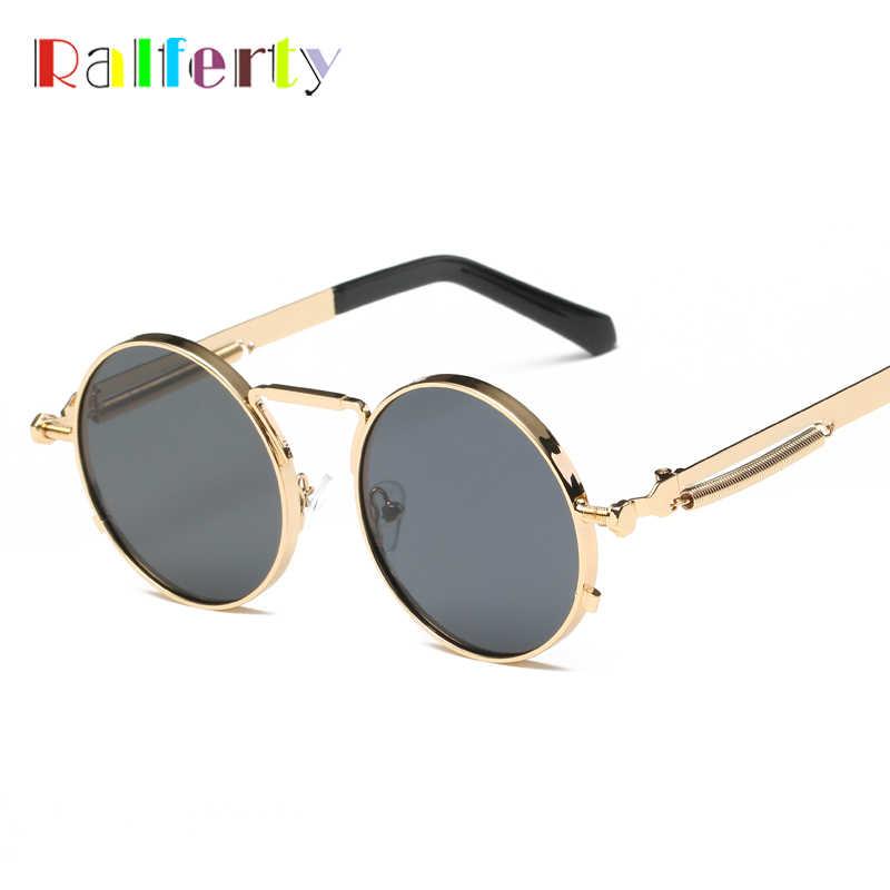 4552c6c7145 Ralferty Vintage Round Sunglasses Women Men Steampunk Goggles Retro Gold  Metal Sun Glasses Hip Pop Wire
