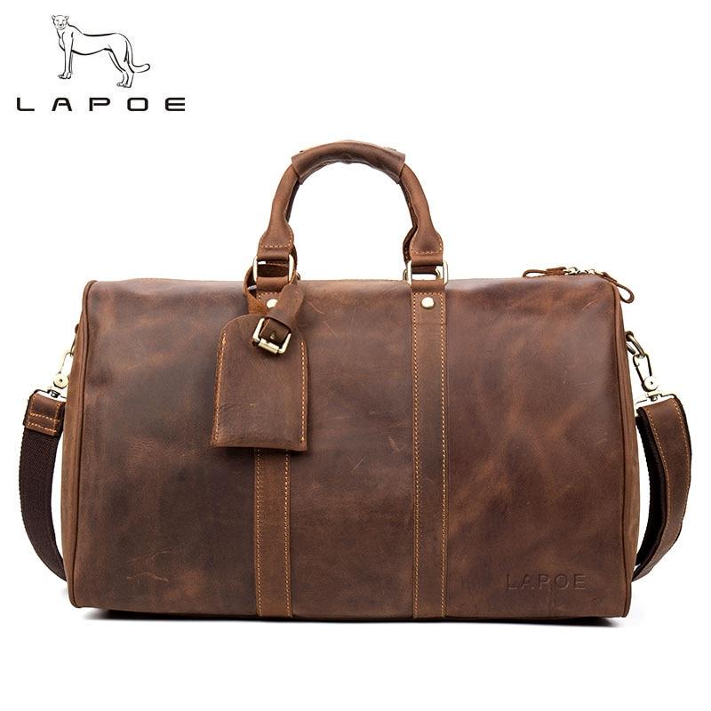 LAPOE Vintage luggage bag men travel bags bolsa de viagem grande de couro masculina crazy horse genuine leather men bag duffle набор для кухни pasta grande 1126804