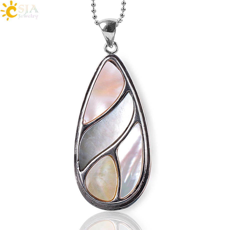 CSJA Bohemian Colorful Natural Shell Mother of Pearl Shell Water Drop Necklaces Pendants C