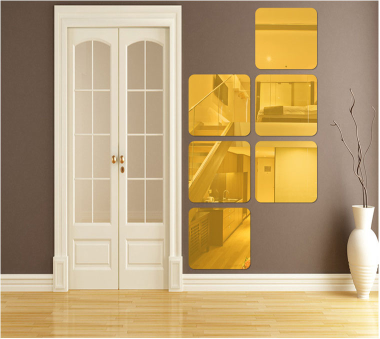 Online Shop Fundecor New Large 3d Square Mirror Wall Decoration Stickers Acrylic Decals For Bathroom Toilet Mirrored Home Decor