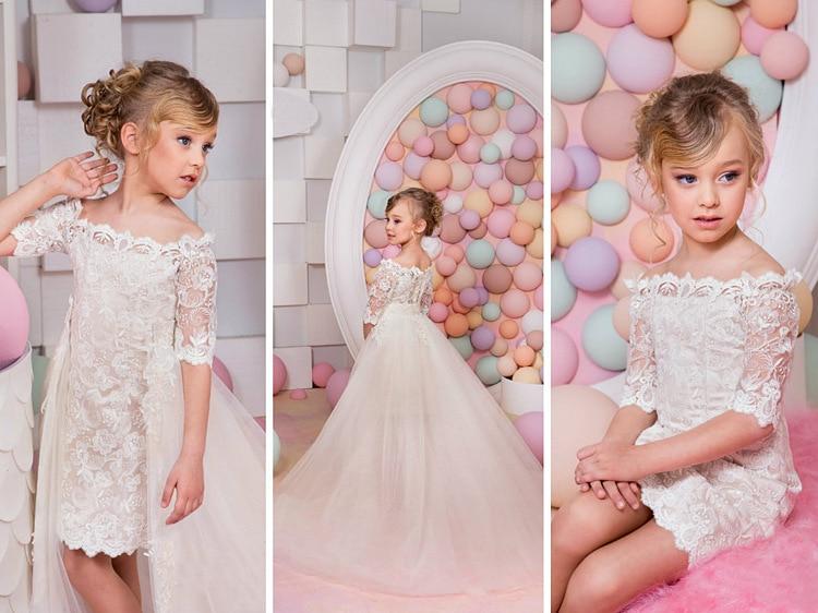 Flower Girls Dresses for Wedding Mermaid First Communion Dresses for Girls Tulle Party Frocks for Girls Mother Daughter Dresses