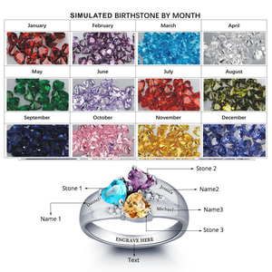 Image 2 - Anneler yüzük kişiselleştirilmiş Engrave adı kalp taş takı 925 ayar gümüş alyanslar doğum günü hediyesi (JewelOra RI101793)