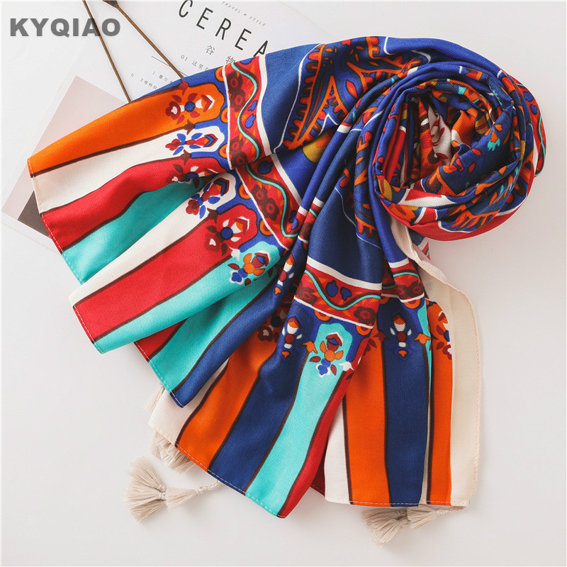 KYQIAO Women Vintage Head Scarf 2020 Female Autumn Winter Mexico Style Ethnic Hippie Long Printed Neck Scarf Cloud