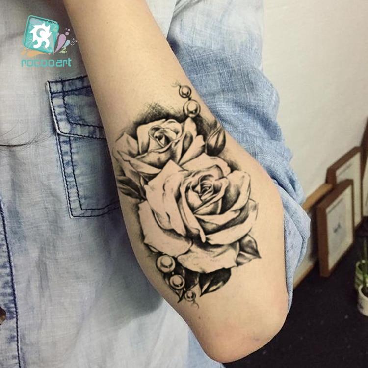Rocooart Nouveau Croquis Rose Imperm Faux Tatouage Taty Pour Femmes Hommes Temporaire Autocollant Dos Bras Flash Tatoo Henn Tatuaje W18