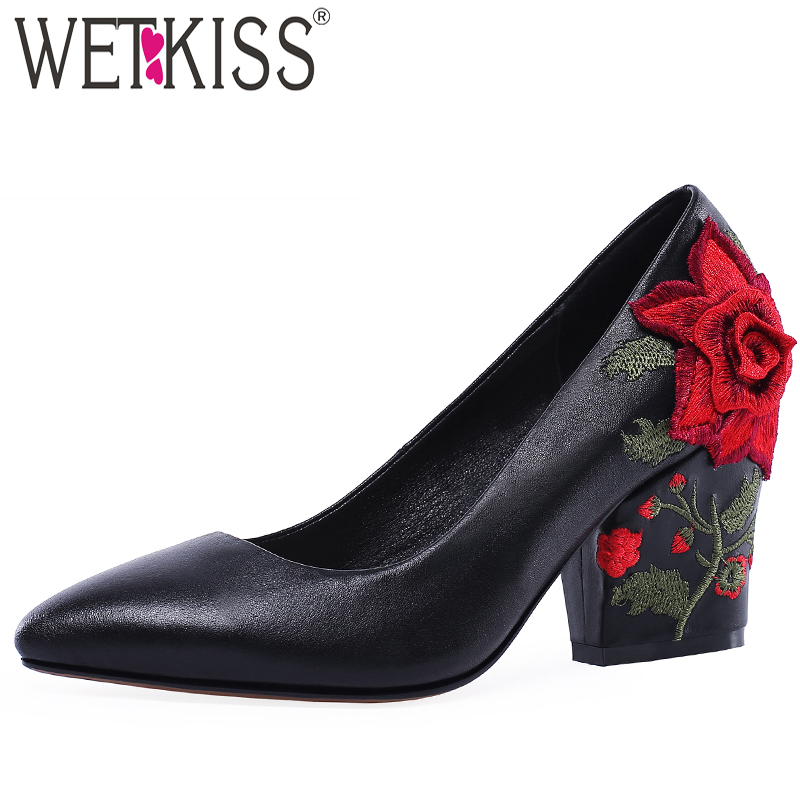 WETKISS Pumps Women Ethnic-Shoes Spring High-Heels Genuine-Leather New Embroider Female