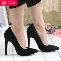 QUTAA 2020 Women Pumps Fashion Flock Women Shoes Platform All Match Pointed Toe Slip on Thin High Heel Ladies Pumps Size 34 43