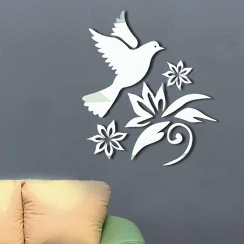 beautiful flowers birds mirror decorative wall sticker design mirror