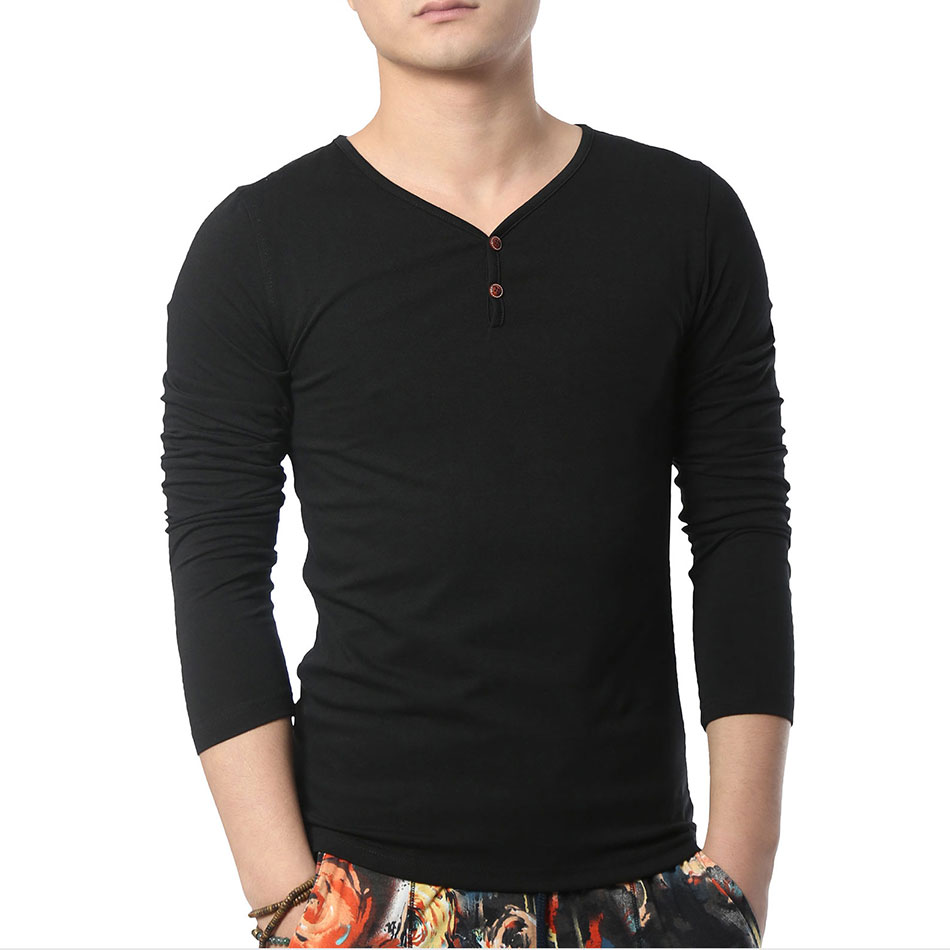 Long Sleeve Men T Shirt V Neck Cotton T Shirts White Basic