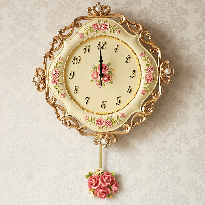 the european resin wall clock pastoral living room bedroom wall clock creative fashion watch quartz clock