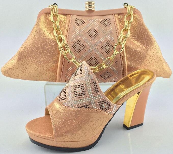 Rosa Decorado Y Zapatos azul rosado Con Bolsas Italianas Rhinestone Mujeres Señoras Establece Conjunto África Color Africanas Bolsa De 2018 Peach oro 81F8r7