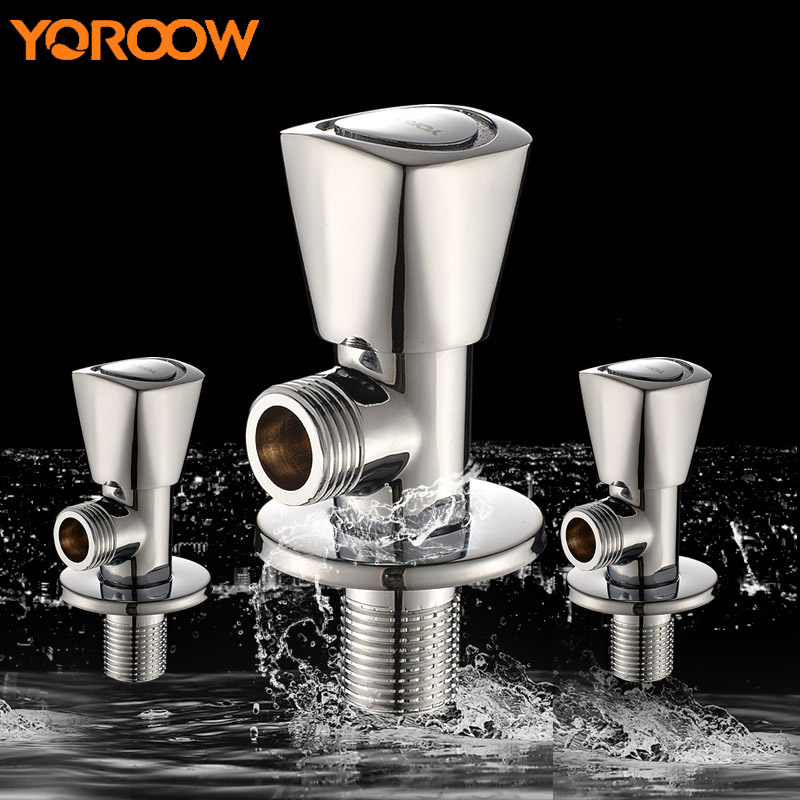 Brass Tee Three Way Valve Wc Toilet Flush Adapter Angle Thread Water Faucet Tap Accessorie Thermostatic Mixing Valve-sink SN0005 public restroom 7 8pt dia male thread press type toilet flush valve adapter zmm
