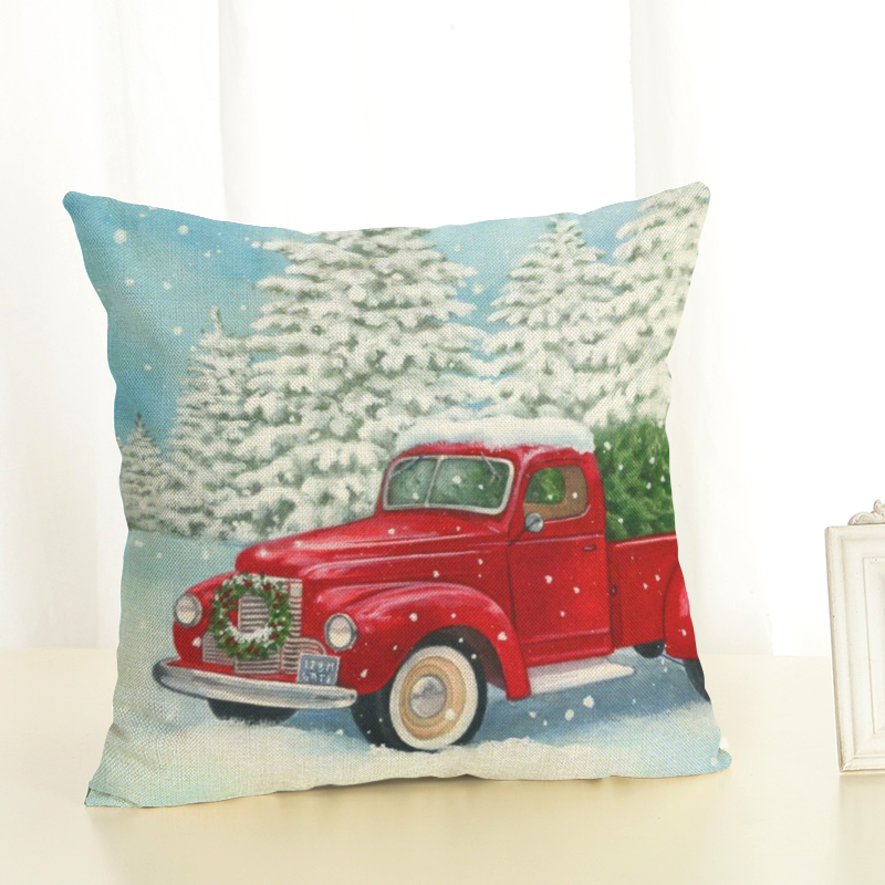 Happy New Year Gift Christmas Tree Pillow Cases Stug Snow Cushion Covers 45X45cm Flower and Birds Decor Sleigh Ride Seat Covers