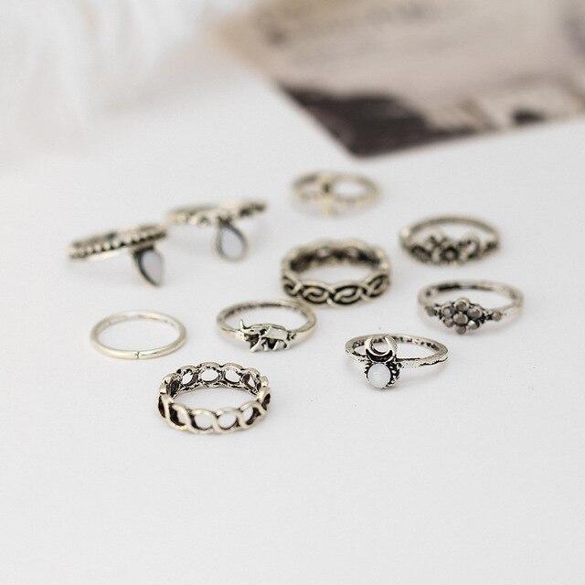 10pcs/set Vintage Ethnic Bohemian BOHO Ring Hollow Geometric Moon Elephant Flower Punk Joint Ring Women Finger Jewelry Wholesale
