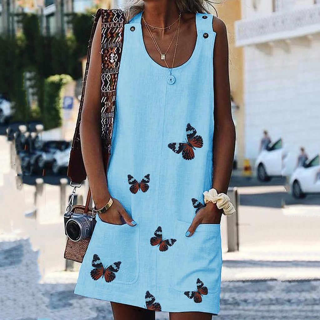 女性 O ネックノースリーブドレス肩クラスプ蝶のプリントコットンリネンカジュアルドレス夏の女性のプラスサイズ膝ドレス # P3