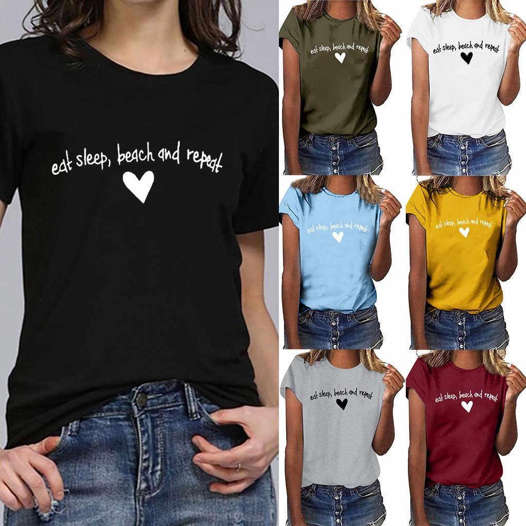 Moda Mujer 2019 Verano Estilo Coreano Mulheres Plus Size Carta E uma Cópia Do Coração Camisa de Manga Curta T Camisa Minimalista arte Branco Top