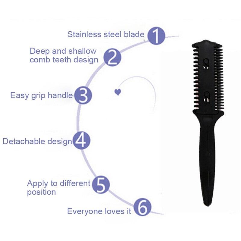 Купить с кэшбэком Double Sides Hair Razor Comb Cutter Cutting Thinning Shaper Haircut Grooming Men Women Hair Trimmer Styling Tool
