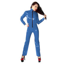 Unique Rubber Latex Women Navy Blue With Black Zipper Tight Catsuit Size XXS-XXL(China)