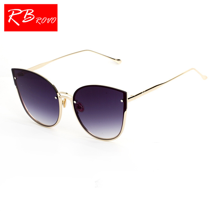 RBROVO 2018 New Fashion Womens Glasses Gafas De Sol Mujer Cat Eye Rivets Designer Spectacles Shopping Party sunglasses women