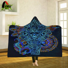 FXMX Indian Elephant Hooded Blanket  Printed Sherpa Fleece Wearable Quality Rectangle For Adult Travel Kids Plays