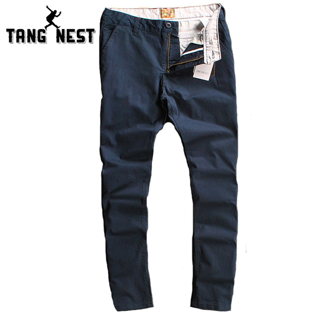 TANGNEST Color Sólido Pantalones Casuales Hombres de La Venta Caliente Recta Pantalones Largos Masculinos Cómodo Delgado Pantalon Homme MKX1105