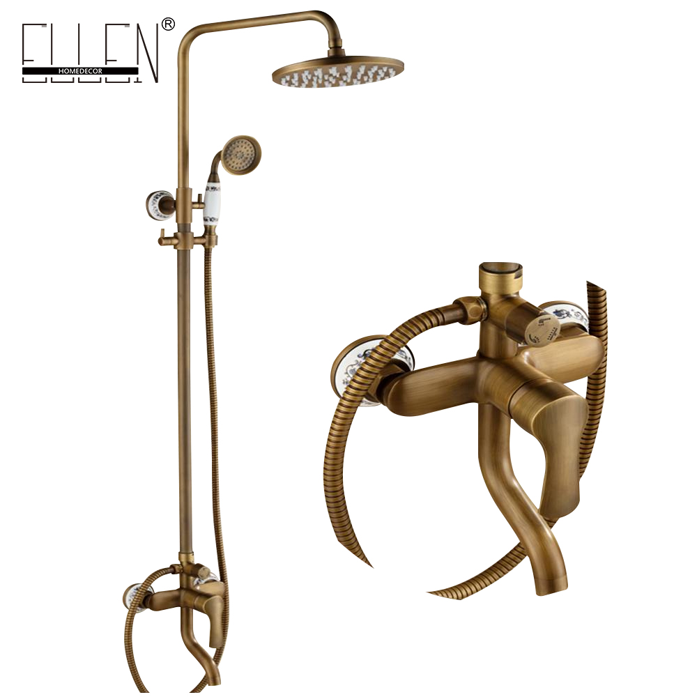 Bathroom Rain Shower Set Antique Bronze Wall Mounted Bath Shower Faucets with Hand Shower Wall Mounted EL0628