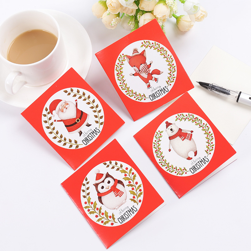 12pcs cards+12pcs envelopes New Merry Christmas Greeting Card Postcard Birthday Letter Envelope Gift Card Christmas Gifts