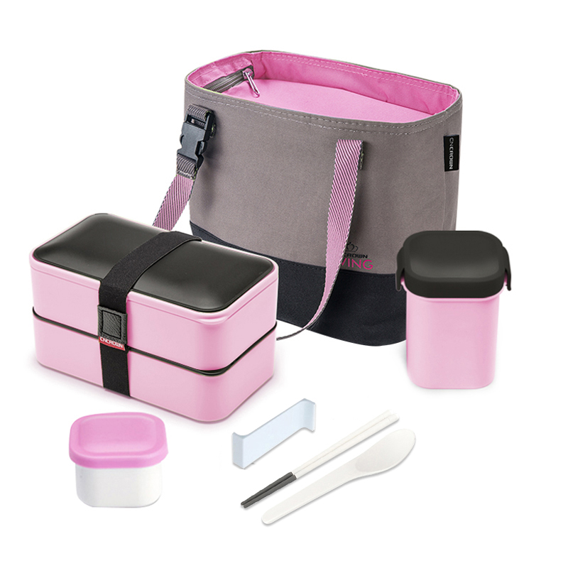 Portable 1PC 1200ml Pink Double layer Lunch Box With Bag Bottle Fitness Microwave Sushi Fruit Bowl Sealed Food Storage Container