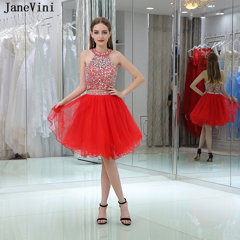 JaneVini Charming Red Two Pieces   Bridesmaid     Dresses   A Line Halter Tulle Prom   Dress   with Crystal Beaded Women Formal Party Gowns