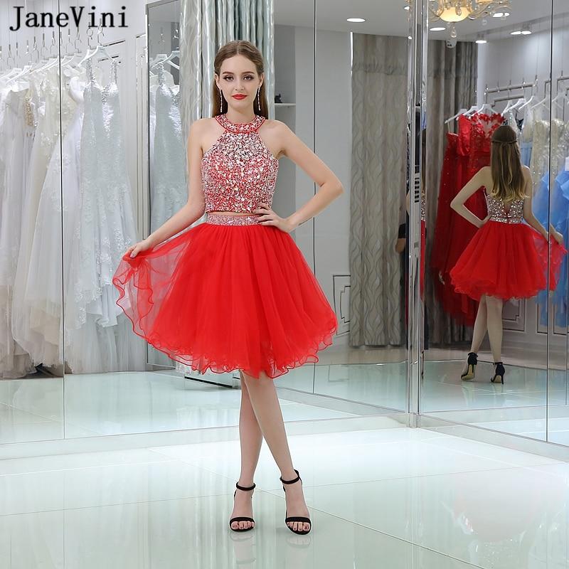 JaneVini charmante rouge deux pièces robes de demoiselle d'honneur une ligne licou Tulle robe de bal avec cristal perlé femmes robes de soirée formelles