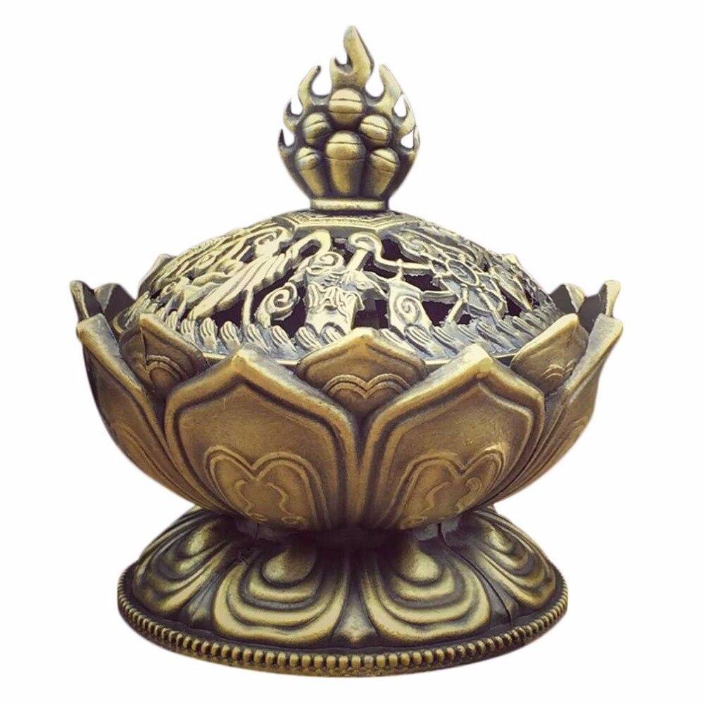 Szent Tibeti lótusz tervezett füstölő égő Cink ötvözet bronz Mini füstölő égő Incensory fém kézműves lakberendezés 3 szín