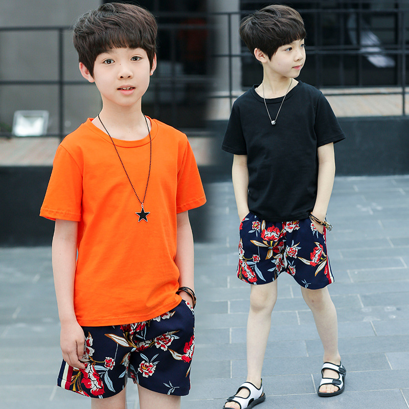 casual 2 pcs sets solid t shirts boys summer sets clothes kids printed shorts and tees suit for big boy children clothing set mudkingd boys girls super soft fleece base shirt tees tops children t shirts solid turtleneck sweatshirts kids clothes blusas