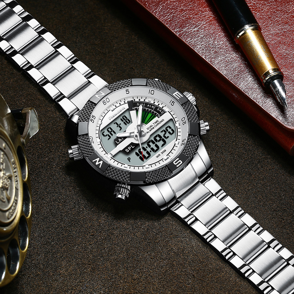 Image 4 - Fashion Luxury Brand Men's Watch Mens Sport Watch LED Quartz Watches Stainless Steel Army Military Wristwatch Relogio Masculino-in Quartz Watches from Watches