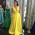 Classic Yellow Aline Evening Dress Long Deep V-Neck Stain Waist Crystals Zipper Back Vestido De Festa