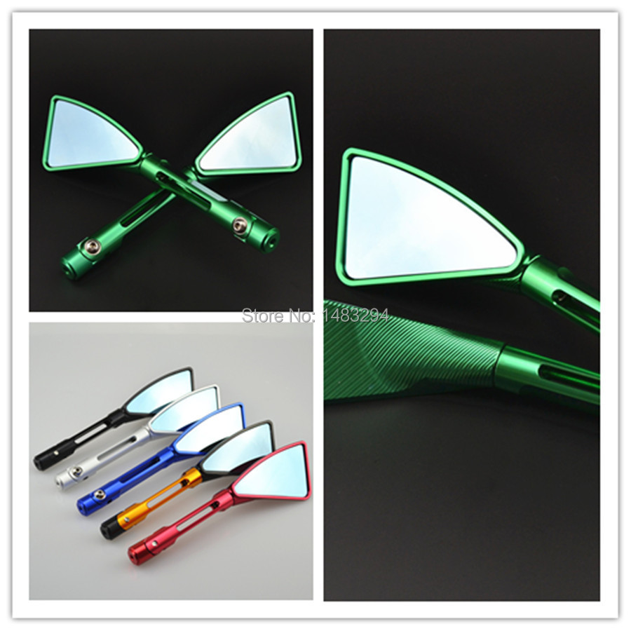 GREEN Aluminum Alloy ALUMINUM REARVIEW SPORT 8MM 10MM MIRROR MOTORCYCLE CRUISE CHOPPER ATV