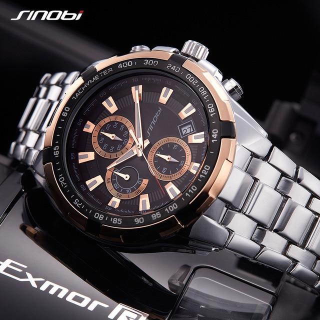 b0e71bcd9f4 SINOBI di Modo Vigilanza degli uomini Cronografo Mens Watches Top Luxury Brand  Sport Orologio Uomo Orologio