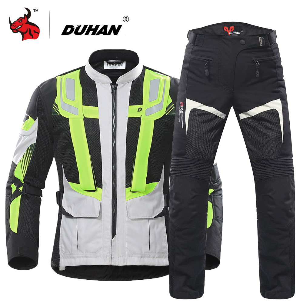 DUHAN Motorcycle Jacket Men Summer Breathable Mesh Moto Jacket Protective Gear Reflective Motocross Jacket Motorcycle Protection