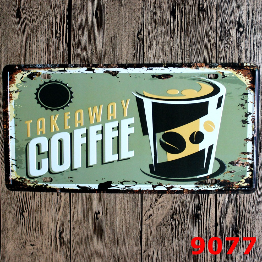 LOSICOE Vintage license plate TAKEAWAY COFFEE Metal signs home decor Office Restaurant Bar Metal Painting art 15x30 CM