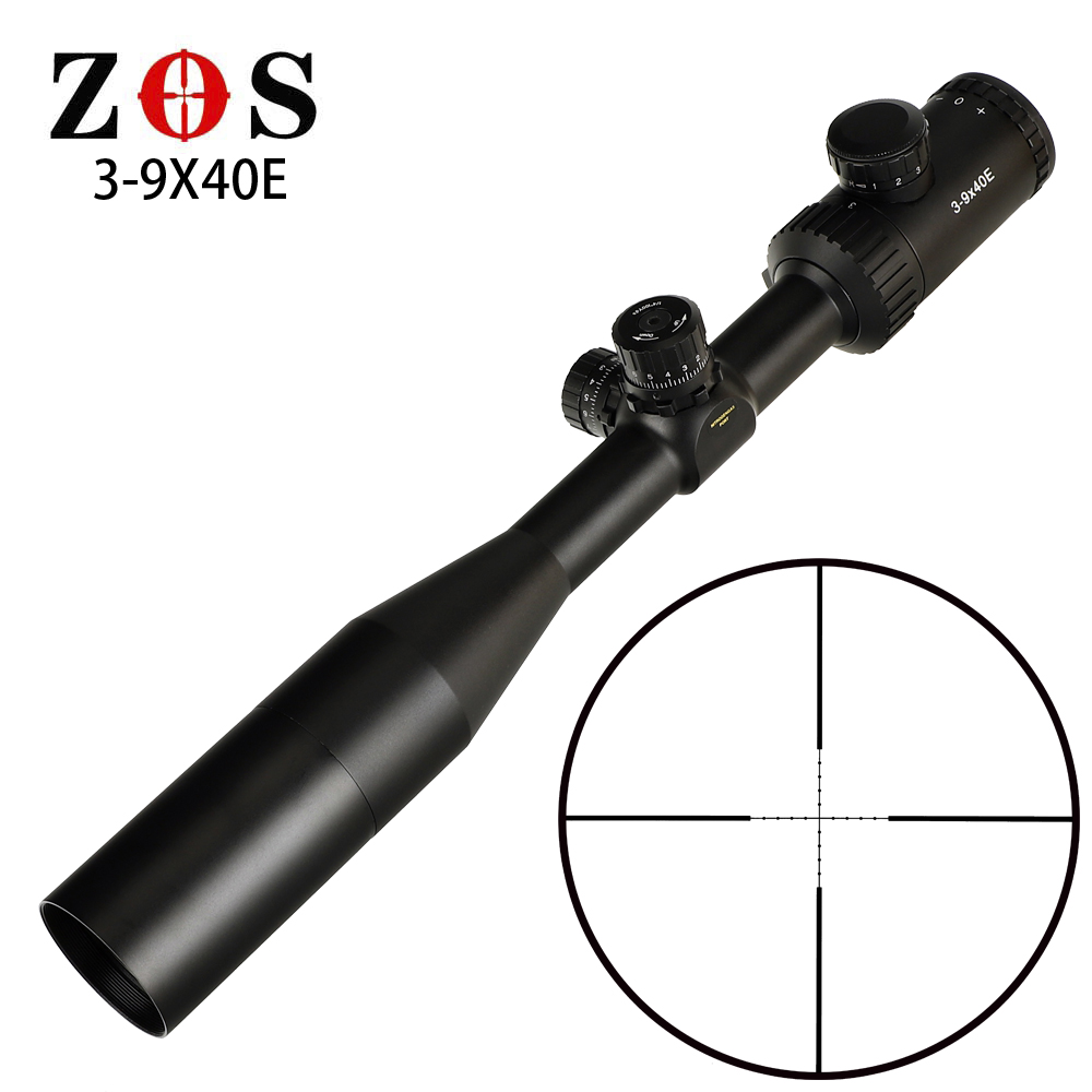 ZOS 3-9X40E Mil Dot Reticle Red Green Illuminated RifleScope Turrets Lock Reset Hunting Rifle Scope