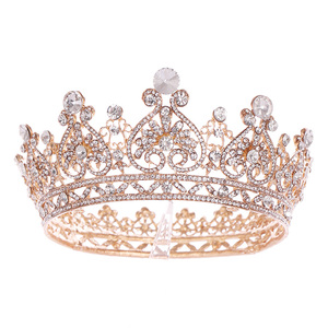 Image 5 - כסף צבע זהב גדול עגול כתר הבארוק נזר כתר גביש לב חתונה שיער Accessorie מלכת נסיכת נזר הכלה קישוט