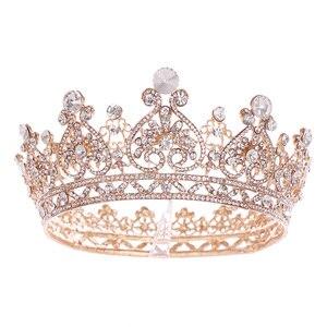 Image 5 - シルバー色ゴールドビッグラウンドクラウンバロックティアラクラウンクリスタルハートウェディングヘアaccessorie女王プリンセス王冠花嫁飾り