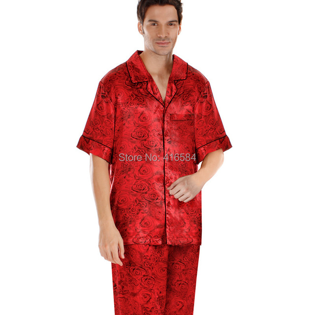 Mens Satin Pajama Sets Short-sleeved Romantic Roses Printed Satin Sleepwear Couple Hoolymoon Sleepwear Men's