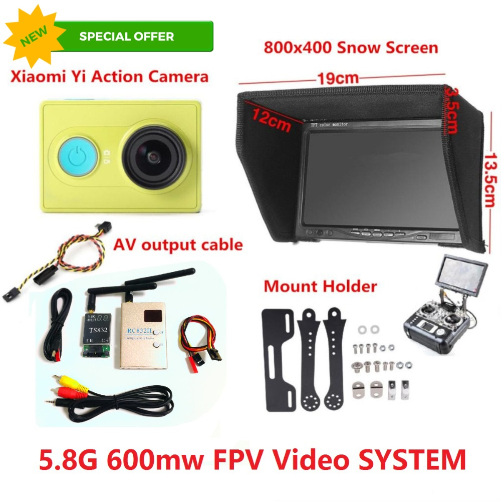 FPV Combo 800x480 Non-blue Monitor + 600mw Tx and Rx + Radio Holder For SJCAM SJ4000 XiaoMi Yi Sport Action Gopro Camera QAV250 image
