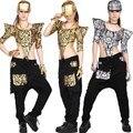 Новая мода Взрослых Женщин Хип-Хоп Танец носить TopsTextured Джаз Ds Костюмы Золотой Серебристый Комбинезон выдалбливают Сексуальная Комбинезон