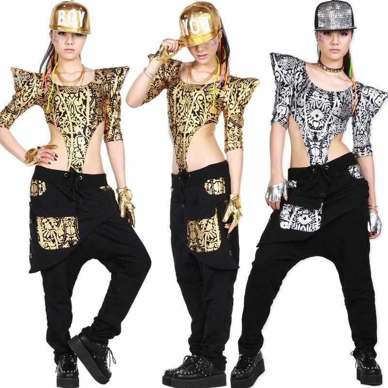Neue mode Erwachsene Frauen Hip Hop Dance tragen TopsTextured Kinder Jazz Ds Kostüme Gold Silber Bodysuit aushöhlen Sexy Overall