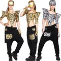 Nueva moda TopsTextured Adultos Mujeres Hip Hop desgaste de la Danza Jazz Ds Traje De Plata de Oro Ahueca Hacia fuera el Mono Atractivo
